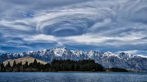 Cloud Lake Wakatipu Mountain New Zealand Storm Vortex 7855x4702 wallpaper