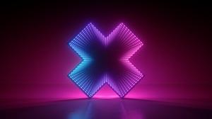 Abstract Neon Artwork Lights 3D Render Glowing Gradient Shapes Minimalism Pink Blue 6500x3714 Wallpaper