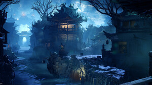 Otto Ostera ArtStation Unreal Engine 4 Artwork Blue Light Landscape Architecture Lake Lightning Blue 3732x1588 Wallpaper