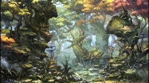 Jun Dong Li Digital Art Fantasy Art Forest Nature Trees Birds 1920x1080 wallpaper