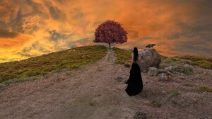 Artistic Girl Gothic Hill Raven Sky Sunset Tree Woman 2000x1125 Wallpaper