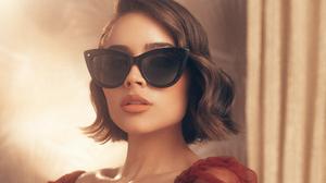 American Model Brunette Short Hair Face Sunglasses 2500x1875 Wallpaper