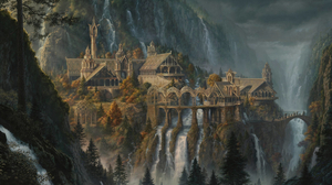 The Lord Of The Rings The Fellowship Of The Ring Rivendell Waterfall Artwork Mountains Canyon City 2048x1152 Wallpaper