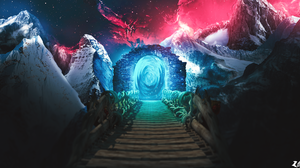 Artwork Digital Digital Art Nature Portal Fantasiam Fantasy Art Nebula Mountains Bridge 1920x1050 Wallpaper