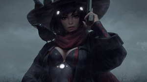 Anime Girls Women Drawing Pistol Crow Neckline Birds Hat Black Hair GUWEiZ Fantasy Art 1920x1080 Wallpaper