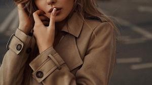 Women Long Hair Model Trench Coat Public Young Woman Fashion Finger On Lips 1024x1280 wallpaper
