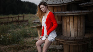 Andrey Frolov Women Ombre Hair Long Hair Red Clothing White Clothing Wooden Surface Outdoors Wind 2048x1217 Wallpaper
