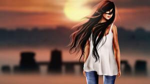 Brown Hair Girl Long Hair Sunset Woman 2048x1230 Wallpaper