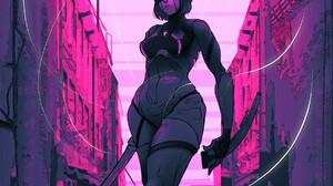 Rashed AlAkroka Pink Artwork Katana Vertical Digital Art Women Drawing Sword ArtStation 1800x3169 Wallpaper