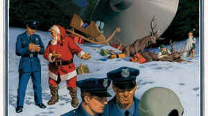 Christmas Santa Claus Aliens UFO Police Flying Saucers Accidents Humor Snow 1100x1500 Wallpaper