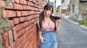 Ning Shioulin Women Model Asian Brunette Pigtails Bangs Looking At Viewer Parted Lips Pink Tops Deni 3840x2560 Wallpaper