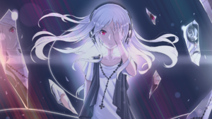 White Hair Red Eyes Headphones Broken Glass Reflection Diagonal Lines Colorful 1920x1080 Wallpaper