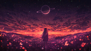 Elizabeth Miloecute Digital Art Starry Night Saturn Planet Clouds 1920x1210 wallpaper