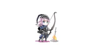 Dark Souls AR15 Girls Frontline Artorias The Abysswalker Bonfire Bow Pink Hair Chibi Fatkewell 2560x1440 Wallpaper