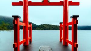 Torii Japan Red Lake 3713x5408 Wallpaper