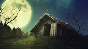 Full Moon Night Barn 1920x1188 Wallpaper
