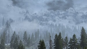 The Elder Scrolls V Skyrim Trees Mist Landscape Mountains 2560x1440 wallpaper