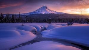 Landscape Mountain Nature Snow Stream Winter 2000x1333 Wallpaper