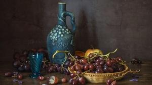Glass Grapes Pitcher Still Life 1920x1280 Wallpaper