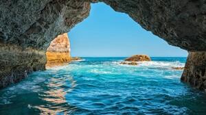 Cave Horizon Ocean Portugal Rock Sea 4500x3000 Wallpaper