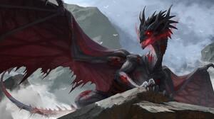 Digital Art Digital Painting Dragon Wings Evil Fan Art Artwork 1920x887 Wallpaper