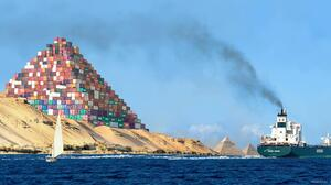 Ship Container Sea Container Ship Water Photo Manipulation Pyramids Of Giza Egypt Pyramid Humor Yach 2048x1088 Wallpaper