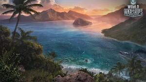 Ship Battleship Ocean Sea Tropical Palm Tree 2560x1600 Wallpaper