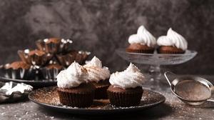 Cream Cupcake Still Life 7150x4772 wallpaper