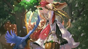 Vofan Anime Anime Girls Deer Blonde Braids Blue Eyes Flowers Scarf Dress 1200x1600 Wallpaper