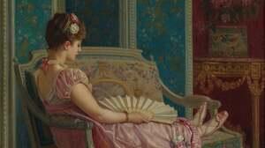 Artwork Painting Women Pink Dress Red Blue Flowers 3596x4840 Wallpaper