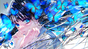 Anime Anime Girls Butterfly Blue Eyes Looking At Viewer Crying Dark Hair Long Hair Water Water Drops 1637x1158 Wallpaper