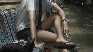 GUWEiZ Digital Art Digital Painting Artwork Train Station Subway Umbrella Cigarettes Cats Black Cats 1440x1800 Wallpaper