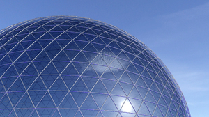 Blue Ball Asian Architecture Dome Science 3584x2000 Wallpaper