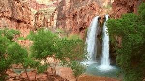 Canyon Nature Tree Water Waterfall 1600x1200 Wallpaper