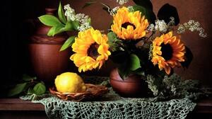 Flower Lemon Pitcher Scarf Still Life Sunflower Vase Yellow Flower 2500x1942 Wallpaper