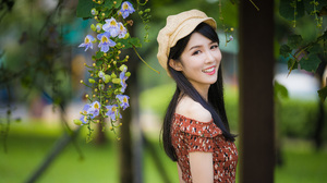 Woman Model Girl Smile Black Hair Depth Of Field Hat 3840x2561 Wallpaper