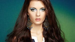 Woman Face Long Hair Earrings Blue Eyes 2048x1536 Wallpaper