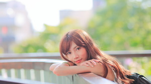 Asian Model Women Long Hair Dark Hair Leaning Depth Of Field Looking At Viewer Railings Shirt Bracel 5760x3840 Wallpaper
