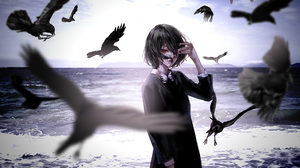 Another Black Dress Raven Anime Girls Black Nails Bangs Hair In Face Red Eyes Looking At Viewer Ocea 2000x1240 Wallpaper