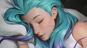 Anime Girls Artwork Sleeping Wavy Hair Digital Art Digital Painting Women Young Woman Kudos Producti 3024x4032 Wallpaper