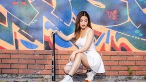 Asian Model Women Long Hair Dark Hair Baseball Bat Graffiti Sneakers White Skirt White Shirt Bricks  3840x2560 Wallpaper