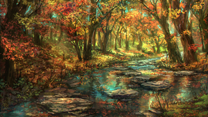 Artistic Fall Foliage Forest Leaf Nature Original Anime River Tree 1920x1357 Wallpaper