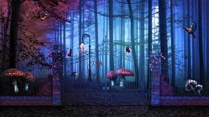 Bird Butterfly Flower Forest Magical Mushroom Tree 1920x1080 Wallpaper