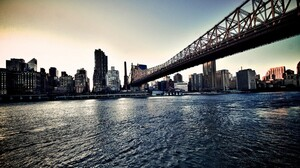 Queensboro Bridge River New York City USA Cityscape East River HDR 1920x1080 Wallpaper
