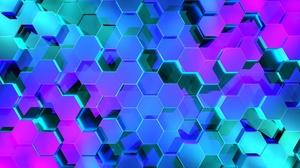 Artistic Blue Hexagon Pattern Purple 1920x1200 Wallpaper