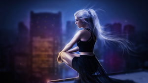 Fantasy Girl Night Ponytail White Hair Woman 1920x1364 Wallpaper