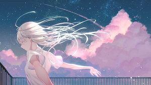 Anime Anime Girls White Hair Closed Eyes T Shirt Sky Kururi 2088x1192 Wallpaper