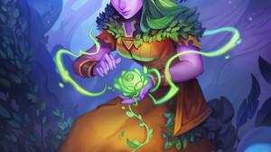 Women Artwork Fantasy Art Fantasy Girl Dave Greco Nordrassil Druid Pointy Ears Green Hair Closed Eye 1200x1600 Wallpaper