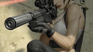 Women Sword Rifles Weapon Laser Artwork 1317x2000 Wallpaper