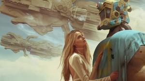 Robot Women Spaceship Futuristic Science Fiction Fantasy Art Artwork Digital Art 8182x5349 Wallpaper